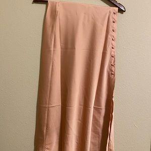 Satin buttoned midi skirt